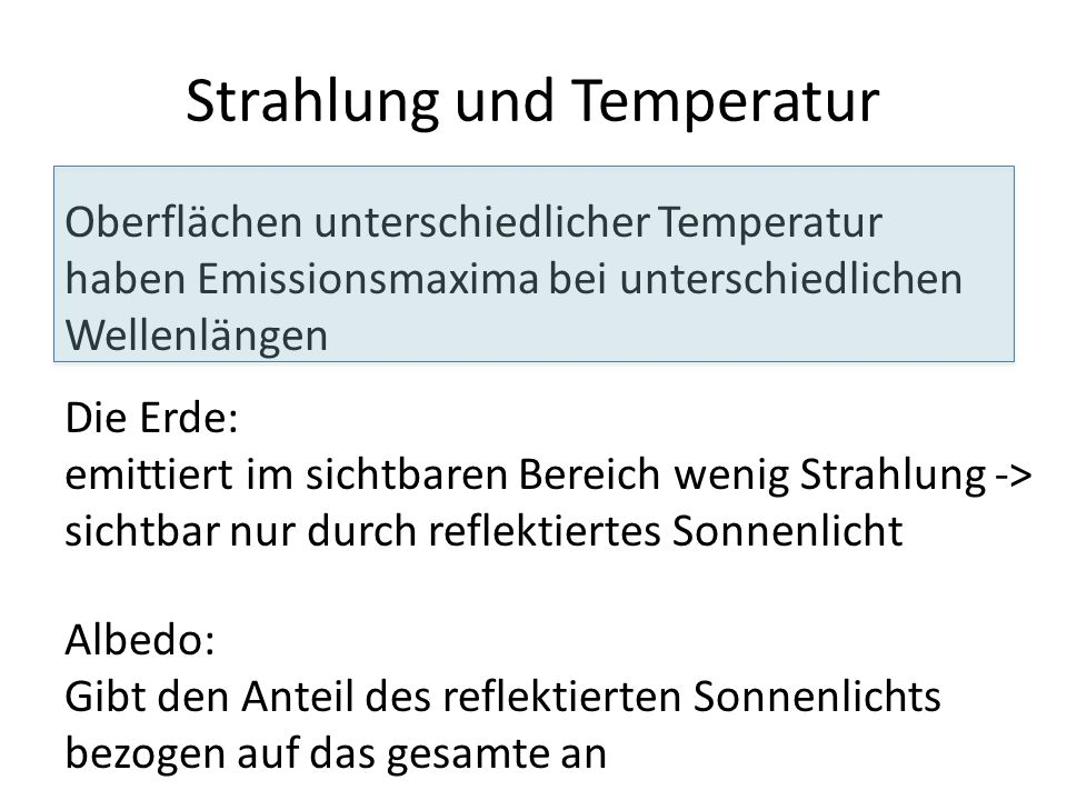 Strahlung und Temperatur