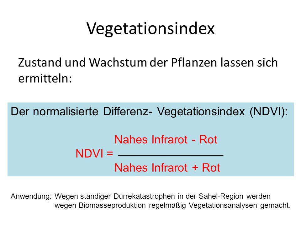 Vegetationsindex Zustand und Wachstum der Pflanzen lassen sich ermitteln: