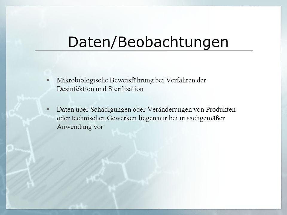Daten/Beobachtungen Mikrobiologische Beweisführung bei Verfahren der Desinfektion und Sterilisation.