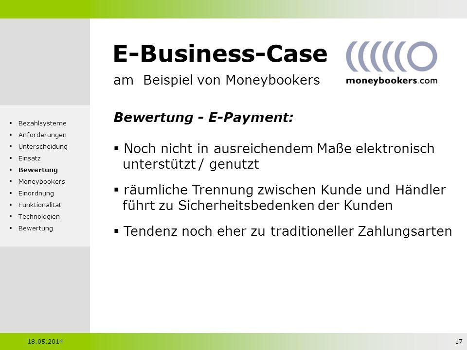 E-Business-Case am Beispiel von Moneybookers Bewertung - E-Payment: