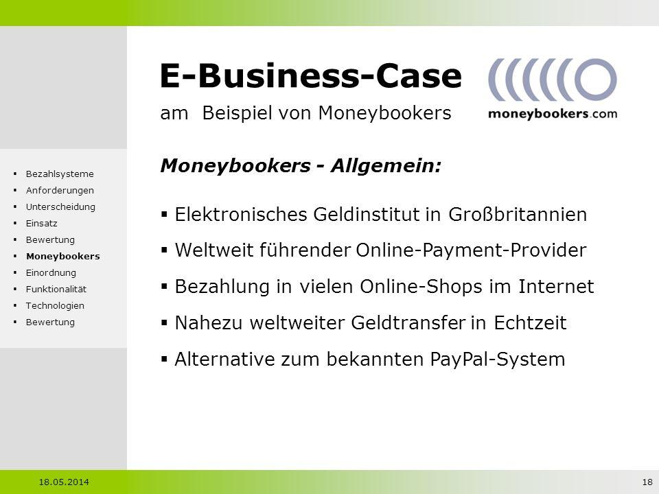 E-Business-Case am Beispiel von Moneybookers Moneybookers - Allgemein: