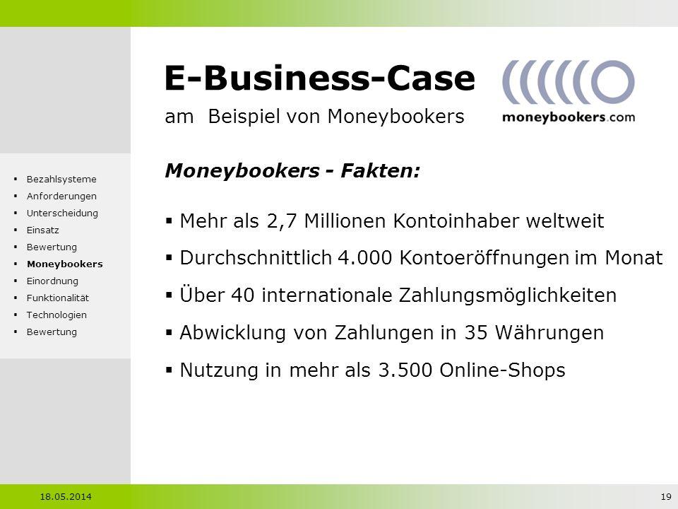 E-Business-Case am Beispiel von Moneybookers Moneybookers - Fakten: