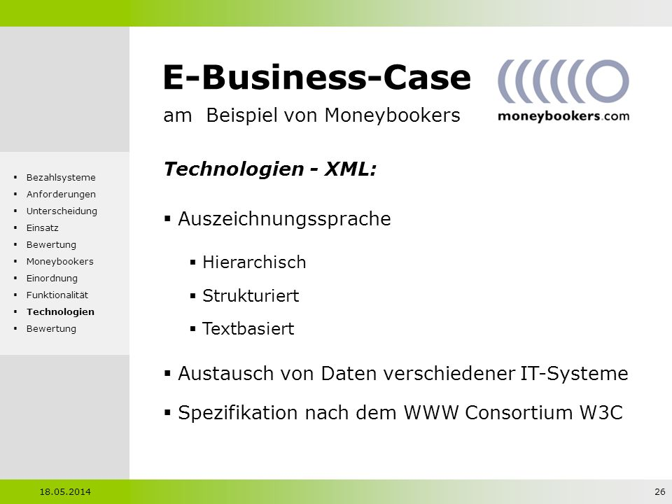 E-Business-Case am Beispiel von Moneybookers Technologien - XML:
