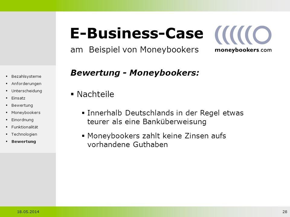 E-Business-Case am Beispiel von Moneybookers Bewertung - Moneybookers: