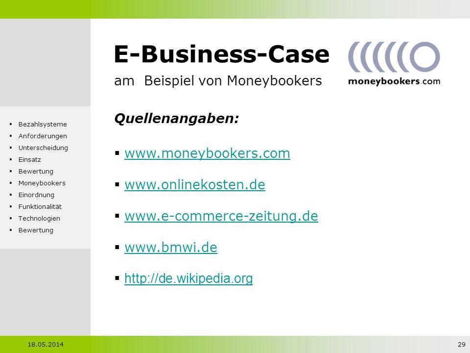 E-Business-Case am Beispiel von Moneybookers Quellenangaben: