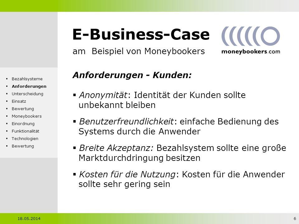 E-Business-Case am Beispiel von Moneybookers Anforderungen - Kunden: