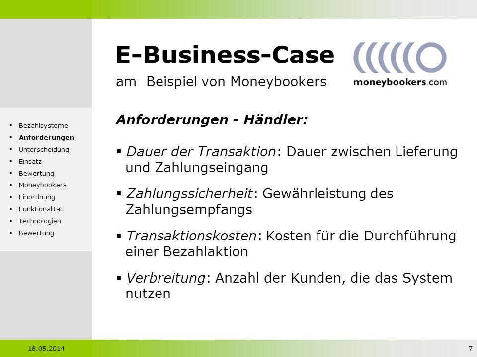 E-Business-Case am Beispiel von Moneybookers Anforderungen - Händler: