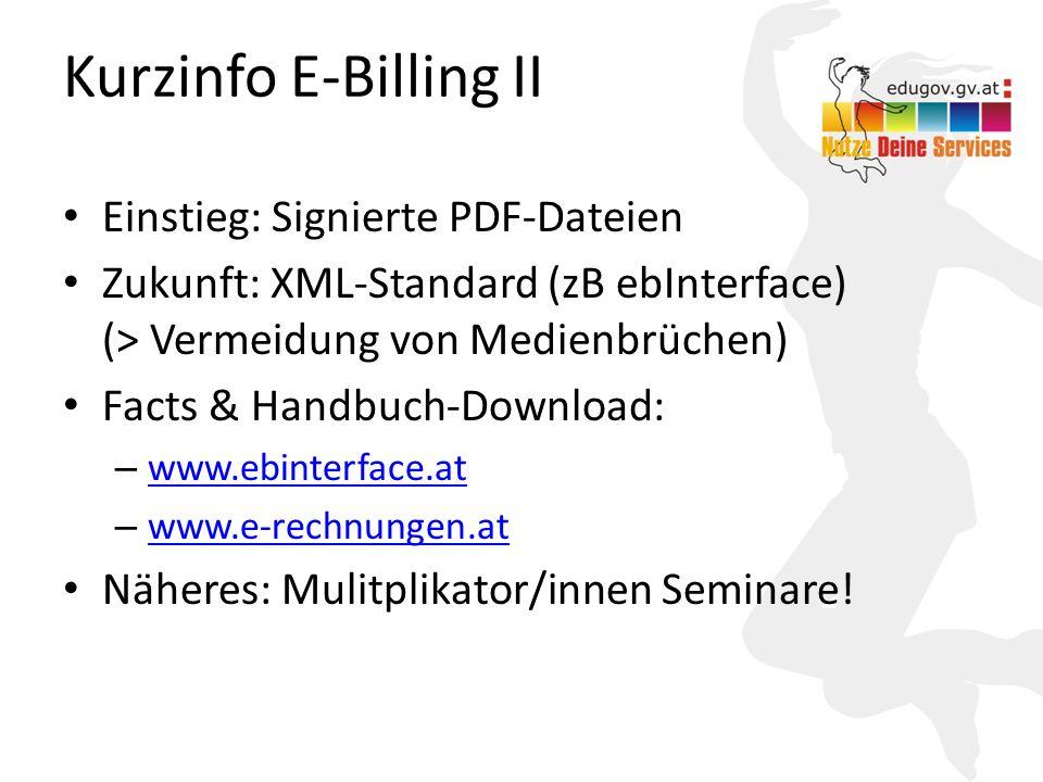 Kurzinfo E-Billing II Einstieg: Signierte PDF-Dateien