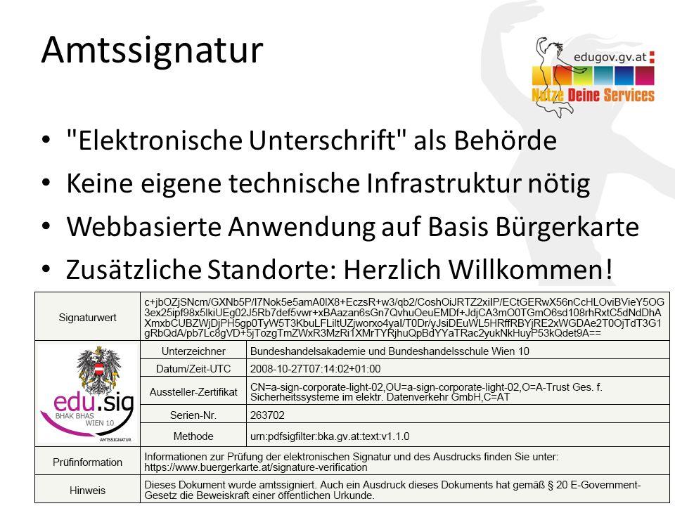 Amtssignatur Elektronische Unterschrift als Behörde