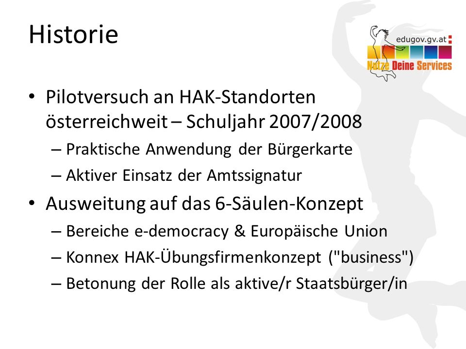Historie Pilotversuch an HAK-Standorten österreichweit – Schuljahr 2007/2008. Praktische Anwendung der Bürgerkarte.