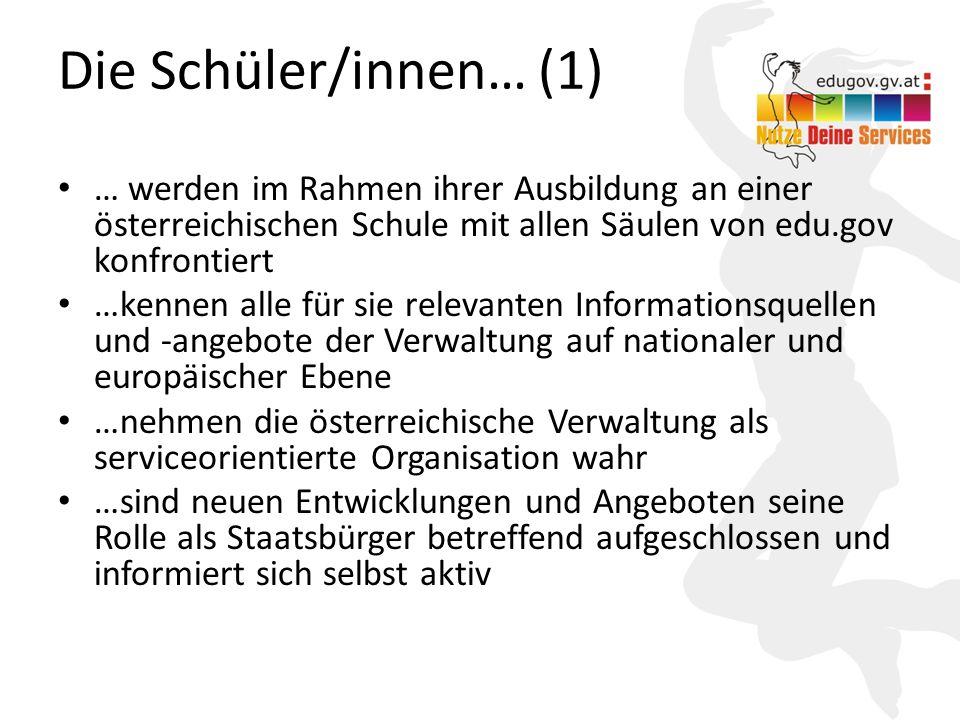 Die Schüler/innen… (1) … werden im Rahmen ihrer Ausbildung an einer österreichischen Schule mit allen Säulen von edu.gov konfrontiert.