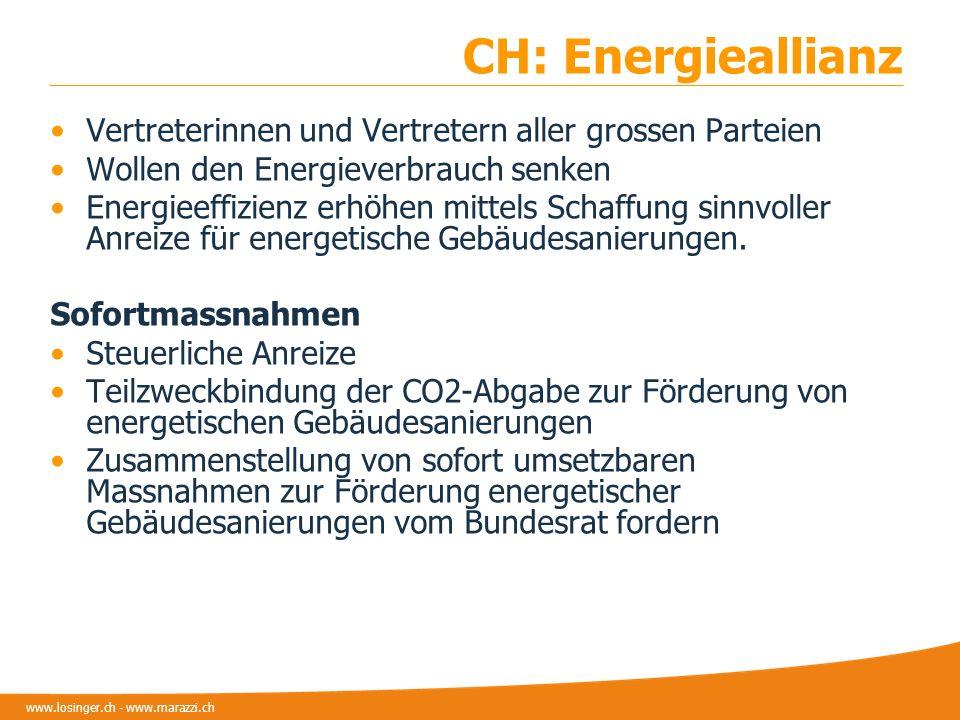 CH: Energieallianz Vertreterinnen und Vertretern aller grossen Parteien. Wollen den Energieverbrauch senken.