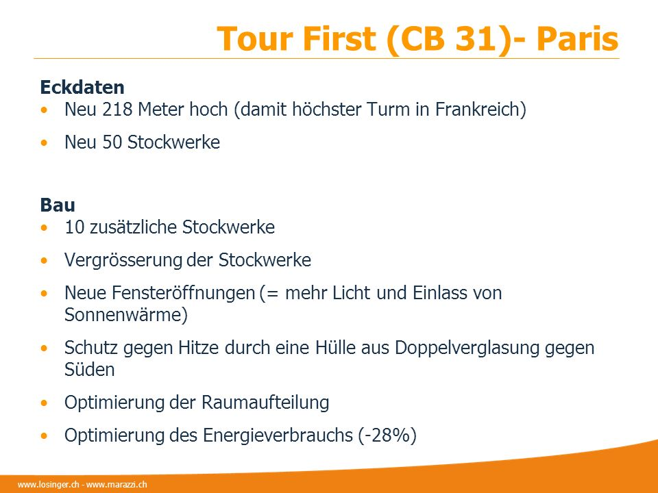 Tour First (CB 31)- Paris Eckdaten