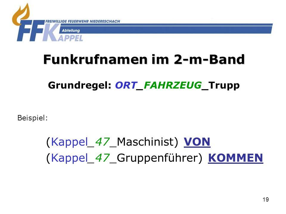Funkrufnamen im 2-m-Band Grundregel: ORT_FAHRZEUG_Trupp