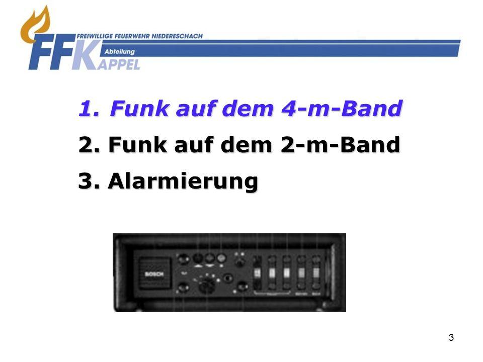 Funk auf dem 4-m-Band 2. Funk auf dem 2-m-Band 3. Alarmierung