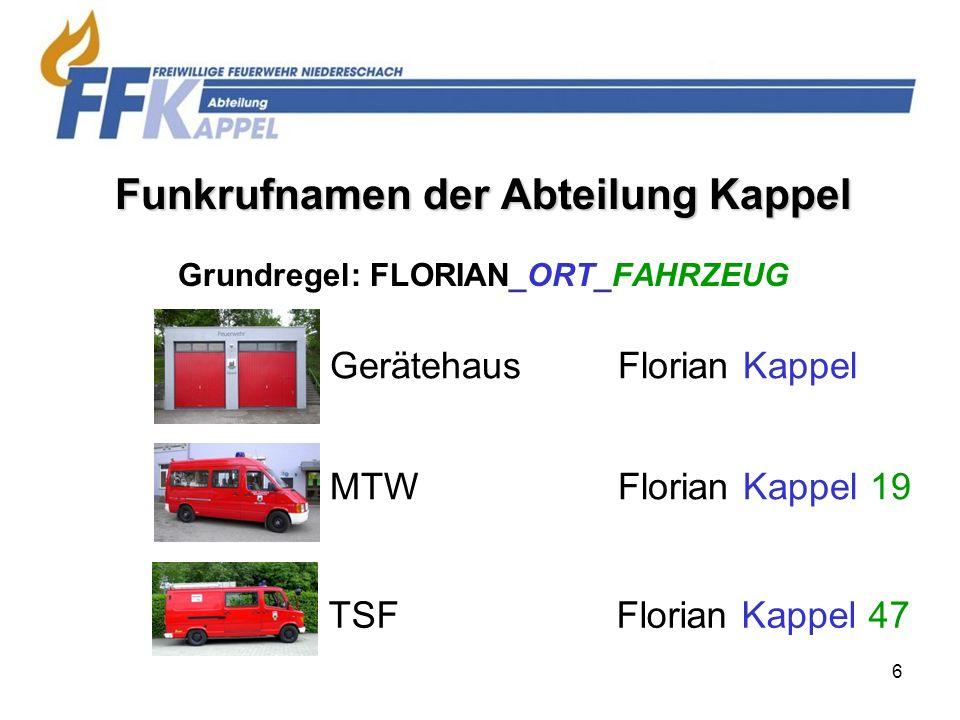 Funkrufnamen der Abteilung Kappel Grundregel: FLORIAN_ORT_FAHRZEUG