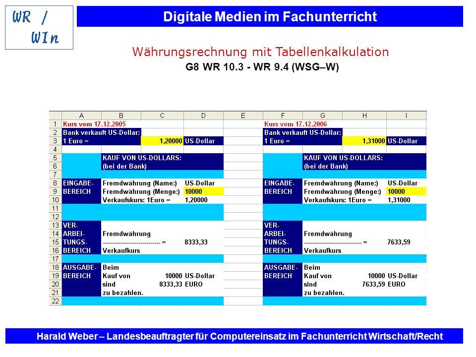 Währungsrechnung mit Tabellenkalkulation G8 WR 10.3 - WR 9.4 (WSG–W)