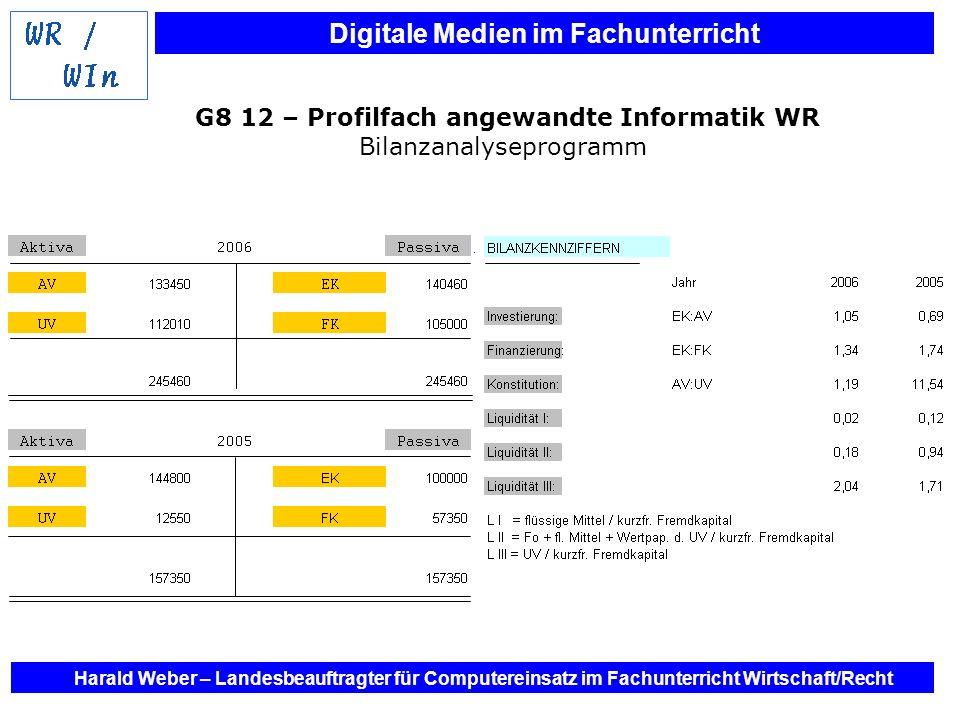 G8 12 – Profilfach angewandte Informatik WR Bilanzanalyseprogramm