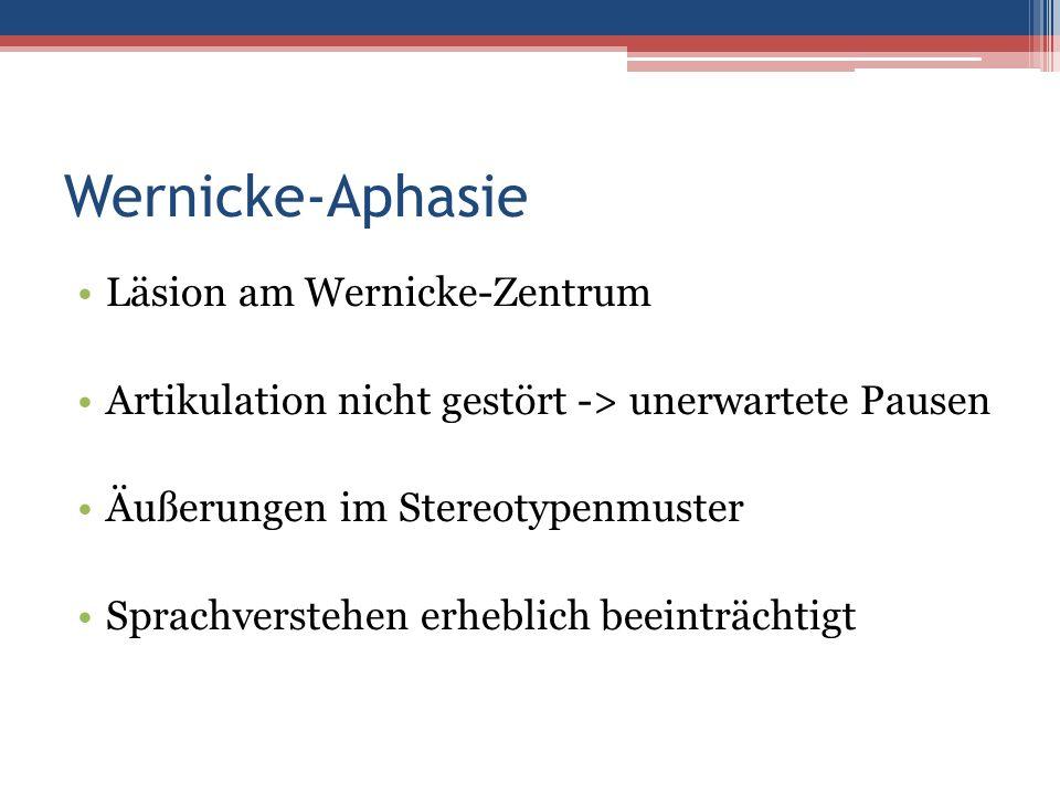 Wernicke-Aphasie Läsion am Wernicke-Zentrum