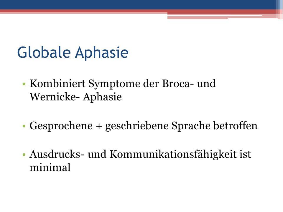 Globale Aphasie Kombiniert Symptome der Broca- und Wernicke- Aphasie