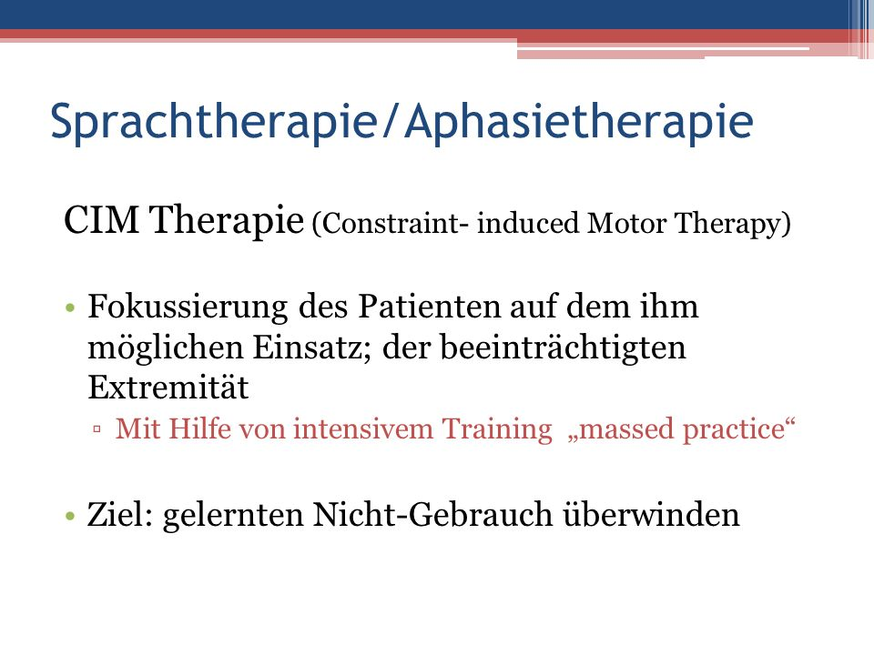 Sprachtherapie/Aphasietherapie