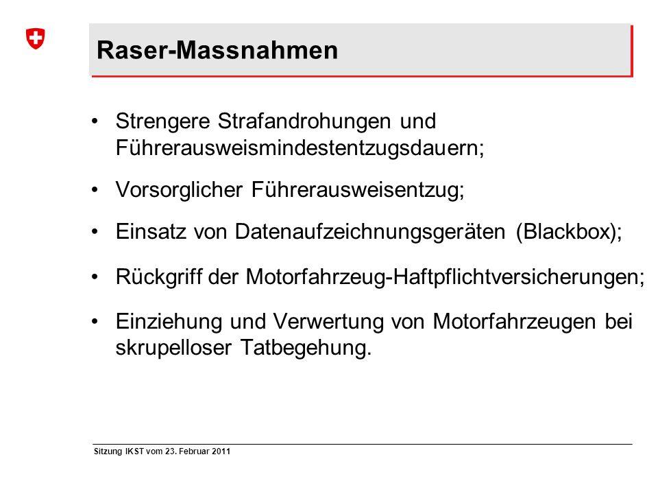 Raser-Massnahmen Strengere Strafandrohungen und Führerausweismindestentzugsdauern; Vorsorglicher Führerausweisentzug;