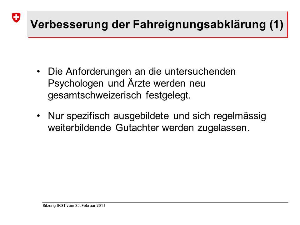 Verbesserung der Fahreignungsabklärung (1)