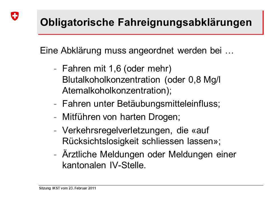 Obligatorische Fahreignungsabklärungen