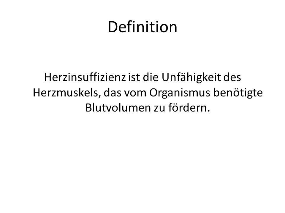 Definition Herzinsuffizienz ist die Unfähigkeit des Herzmuskels, das vom Organismus benötigte Blutvolumen zu fördern.