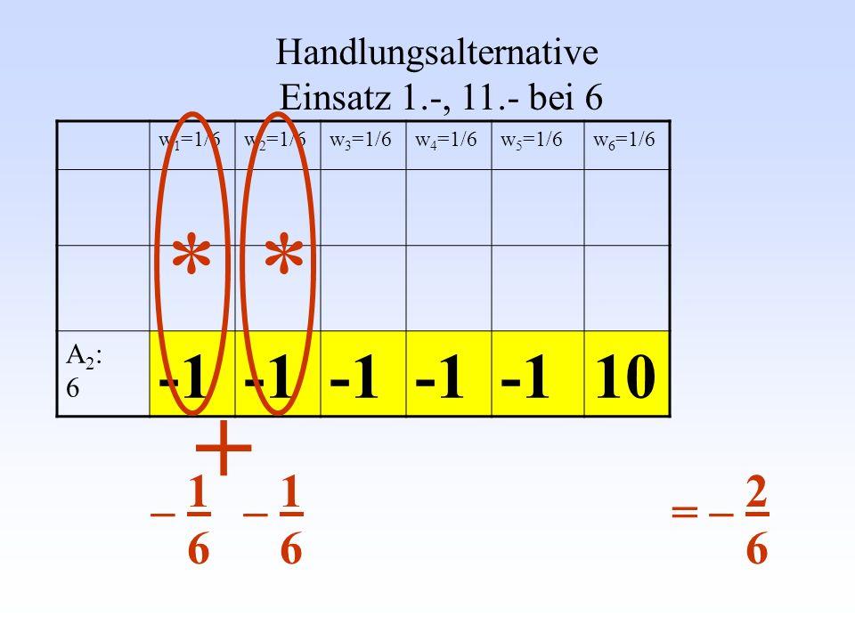 Handlungsalternative Einsatz 1.-, 11.- bei 6