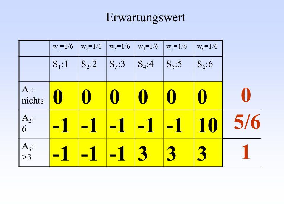 -1 10 3 5/6 1 Erwartungswert S1:1 S2:2 S3:3 S4:4 S5:5 S6:6 A1: nichts
