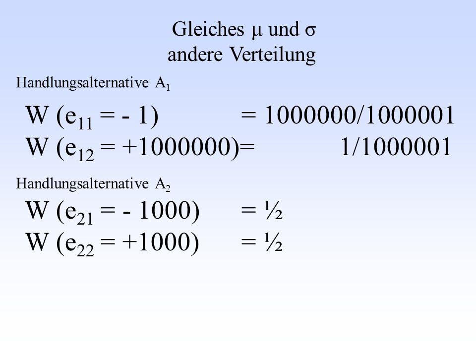 Gleiches μ und σ andere Verteilung