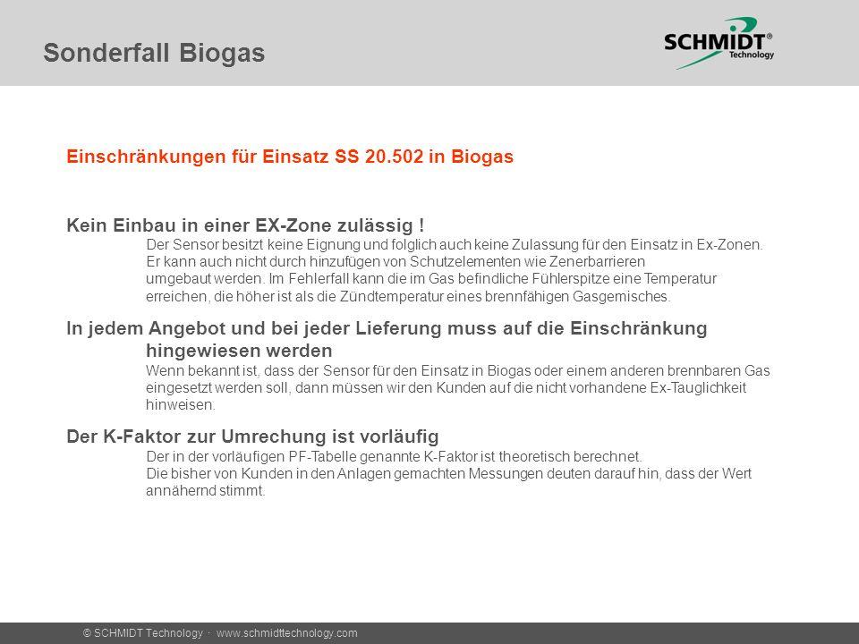 Sonderfall Biogas Einschränkungen für Einsatz SS 20.502 in Biogas