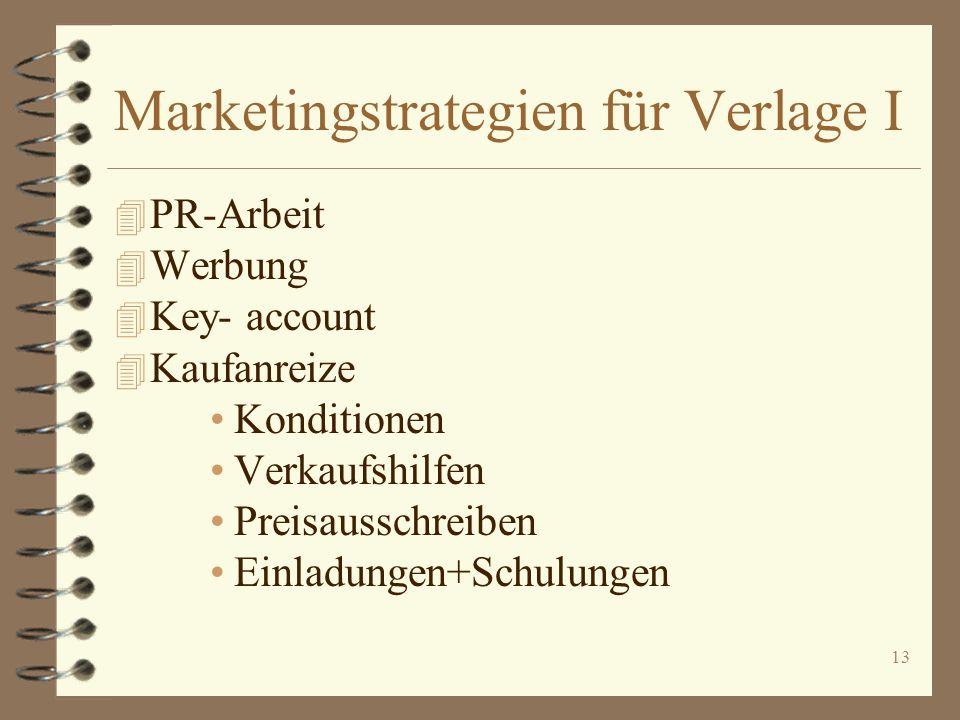 Marketingstrategien für Verlage I