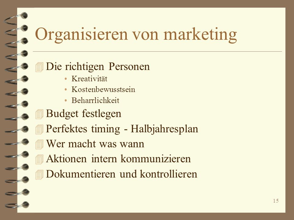 Organisieren von marketing