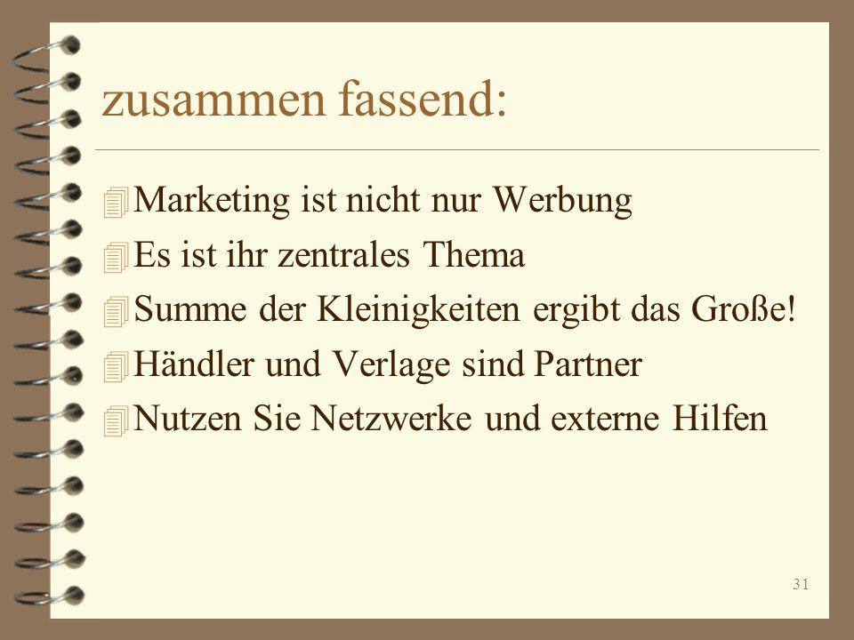 zusammen fassend: Marketing ist nicht nur Werbung