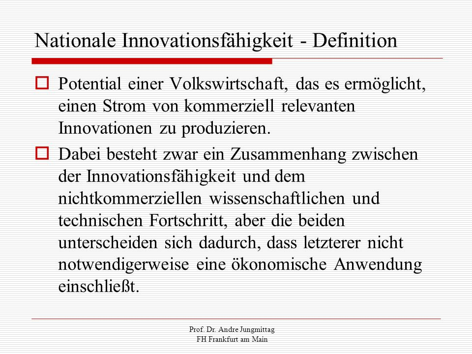 Nationale Innovationsfähigkeit - Definition