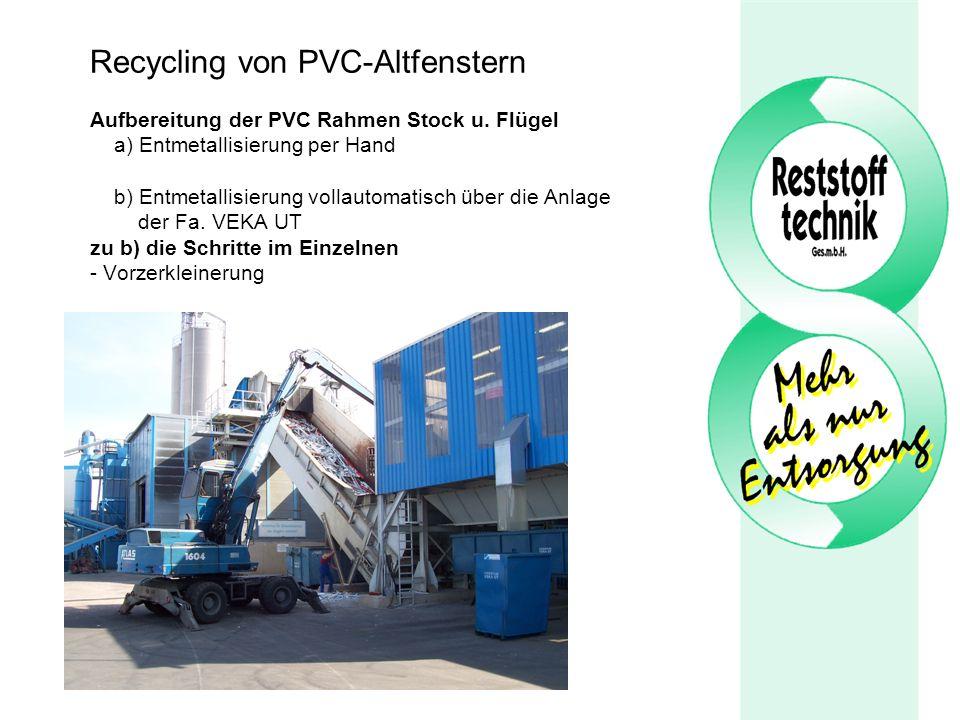 Recycling von PVC-Altfenstern Aufbereitung der PVC Rahmen Stock u