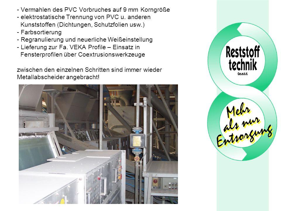 Vermahlen des PVC Vorbruches auf 9 mm Korngröße - elektrostatische Trennung von PVC u.