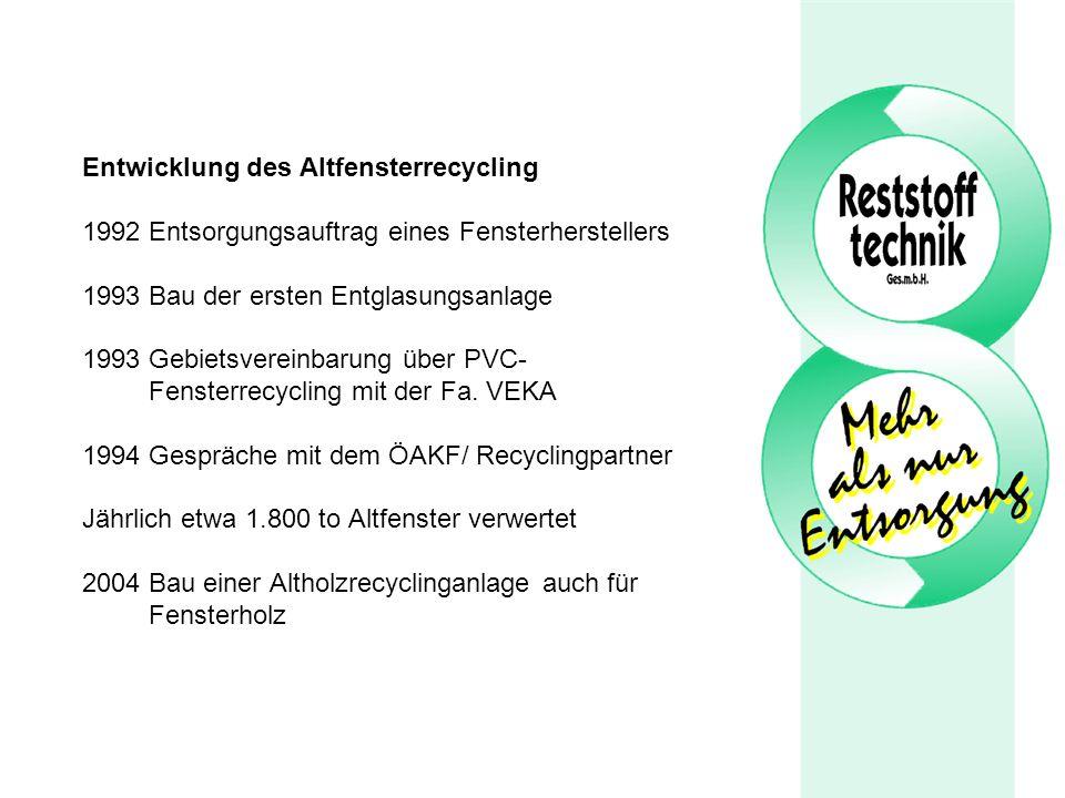 Entwicklung des Altfensterrecycling 1992 Entsorgungsauftrag eines Fensterherstellers 1993 Bau der ersten Entglasungsanlage 1993 Gebietsvereinbarung über PVC- Fensterrecycling mit der Fa.