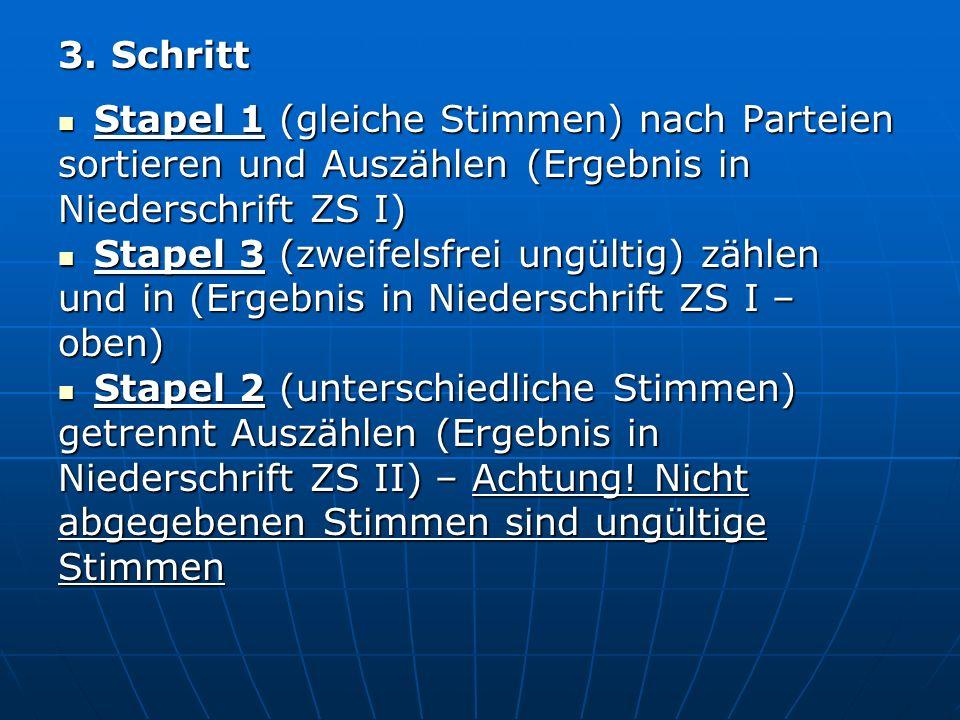 3. Schritt Stapel 1 (gleiche Stimmen) nach Parteien. sortieren und Auszählen (Ergebnis in. Niederschrift ZS I)