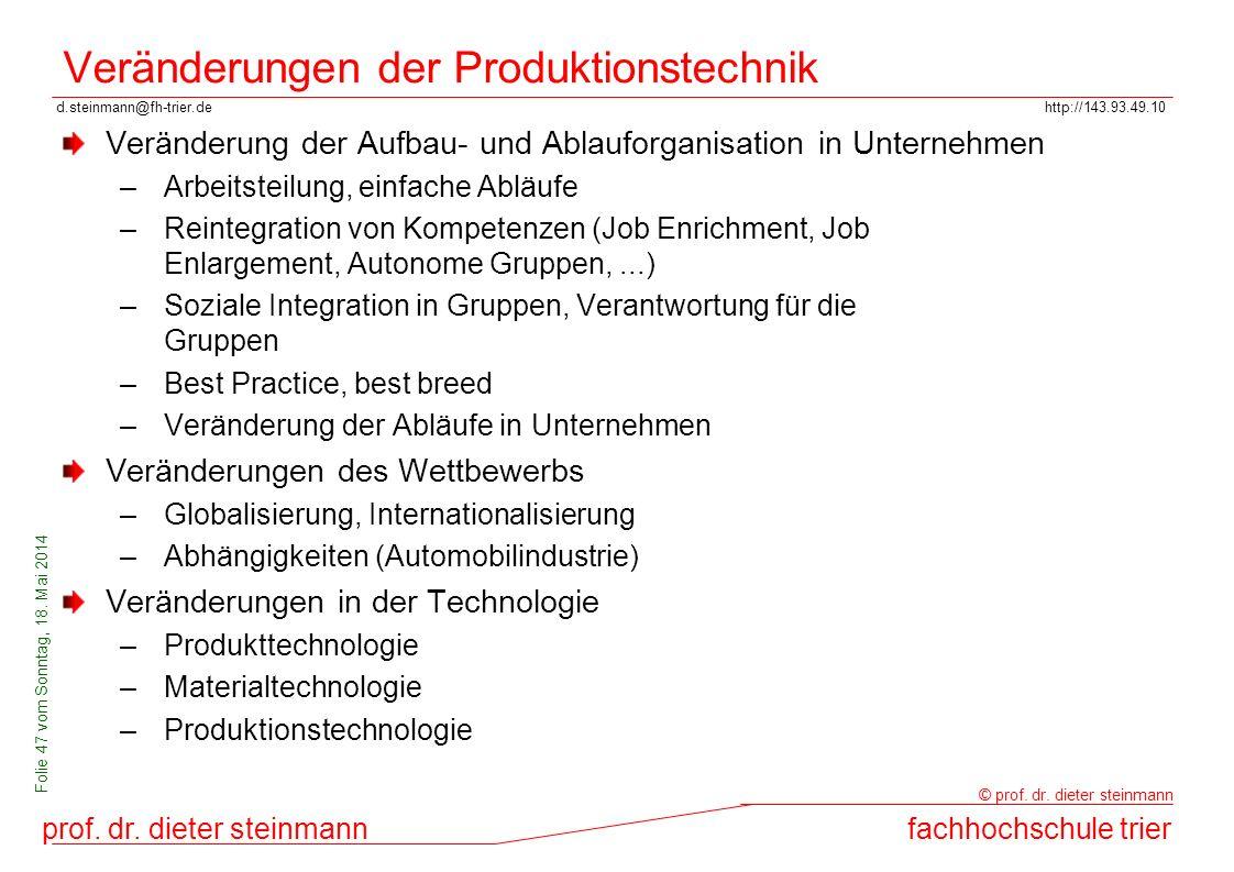 Veränderungen der Produktionstechnik