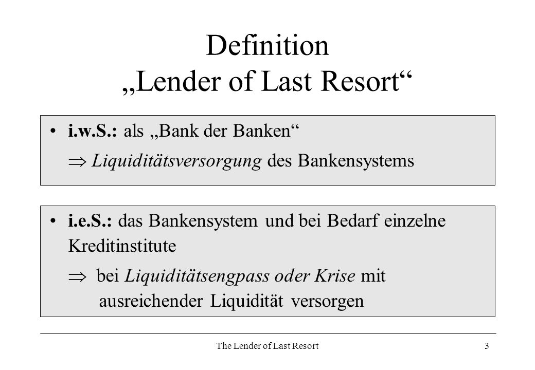 "Definition ""Lender of Last Resort"
