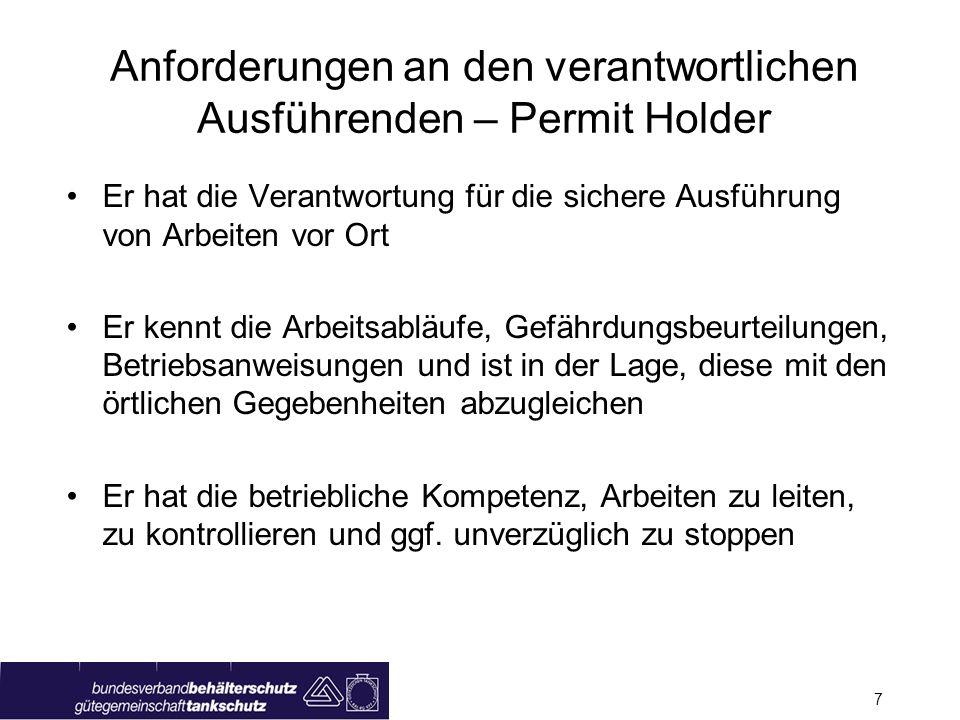 Anforderungen an den verantwortlichen Ausführenden – Permit Holder