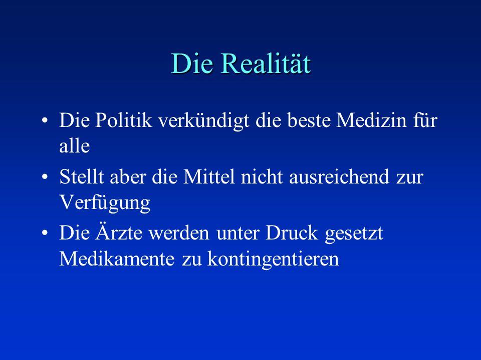Die Realität Die Politik verkündigt die beste Medizin für alle