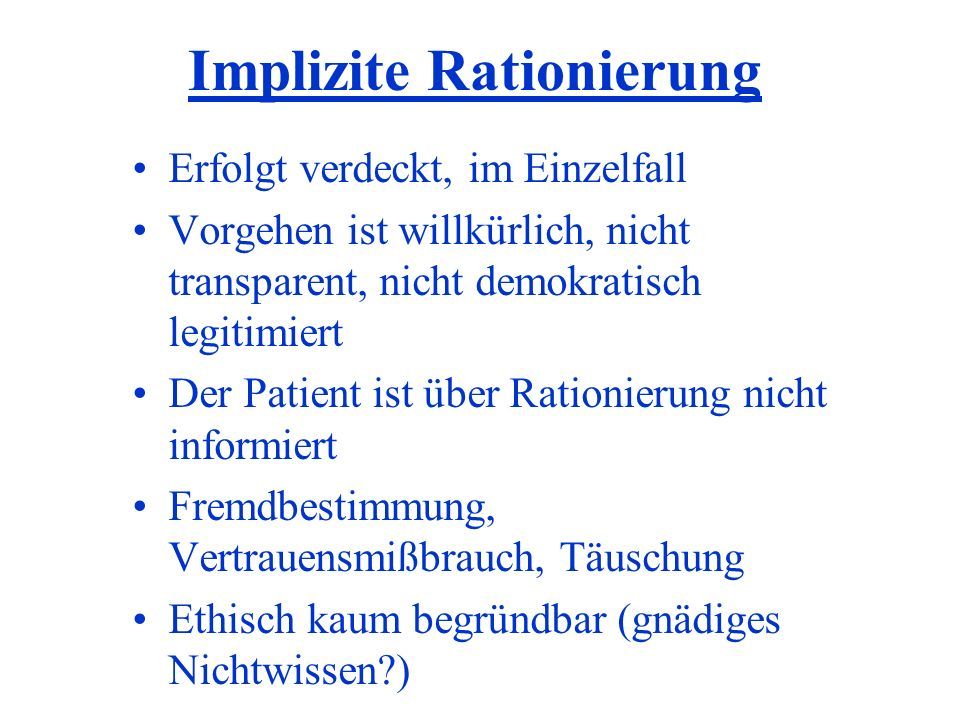 Implizite Rationierung