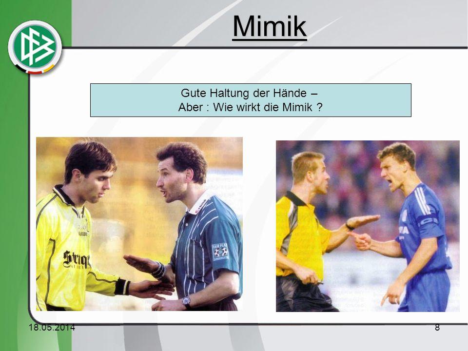 Mimik Gute Haltung der Hände – Aber : Wie wirkt die Mimik 31.03.2017
