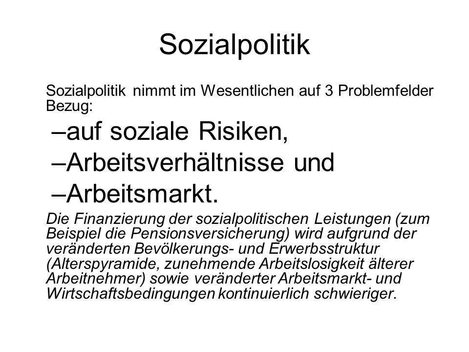 Sozialpolitik auf soziale Risiken, Arbeitsverhältnisse und