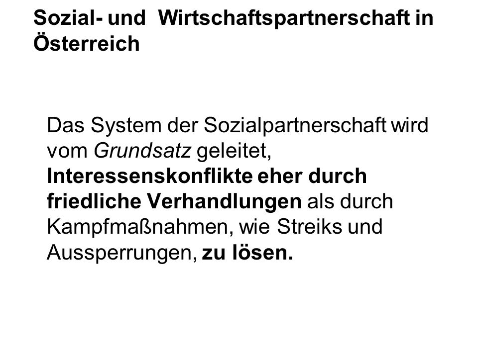 Sozial- und Wirtschaftspartnerschaft in Österreich
