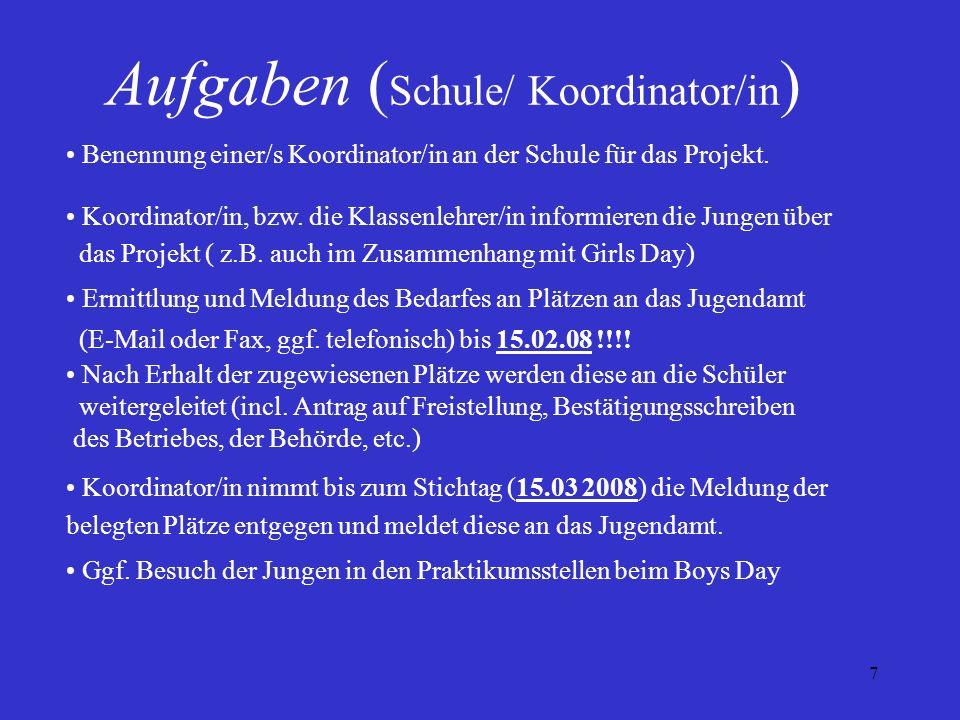Aufgaben (Schule/ Koordinator/in)